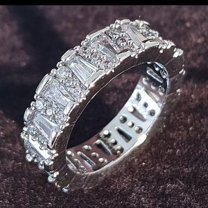 NIB Pave and baguette 18 KT gold eternity band